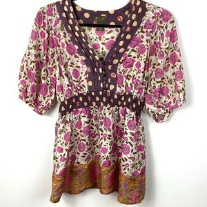 100% Silk Boho Floral Blouse Anthropologie Size 8